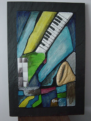 "#019 "" Sound Wave"" original on marble stone"