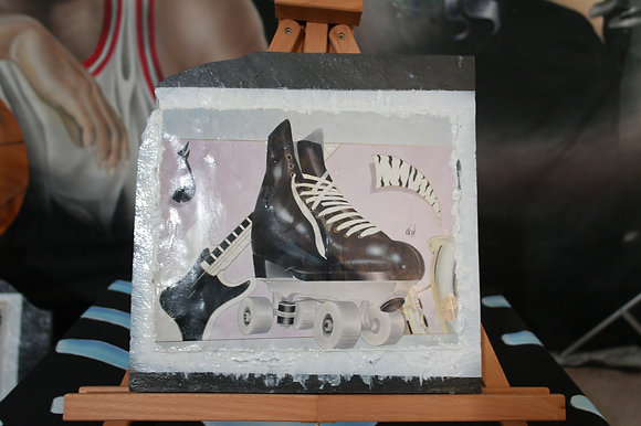 #004 Skate photo print on small marble stone
