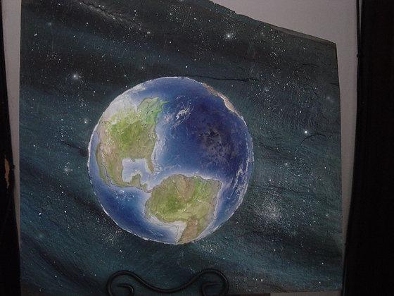 "#009 ""My World"" original on marble stone"