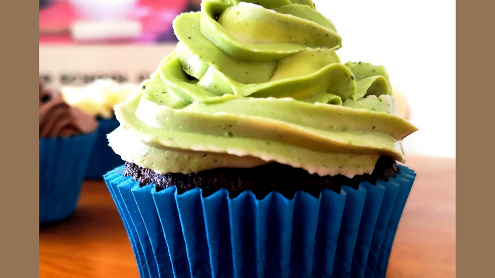 Green Matcha Cupcakes - Natural Food Colouring, Personalised Gift for foodie. Gi