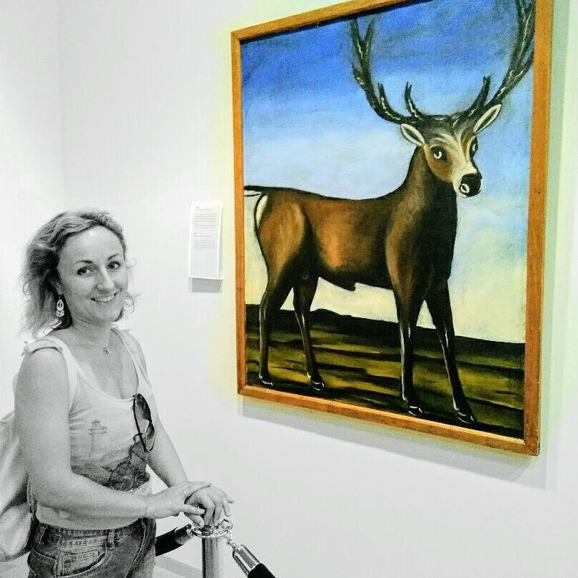 """Me and the legendary """"Deer"""" by Niko Pirosmani in Signaghi"""