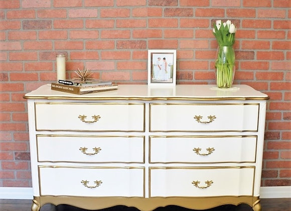 White and Gold French Provincial Dresser
