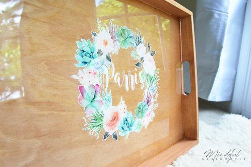 Custom Name with Boho Wreath Self Care Tray