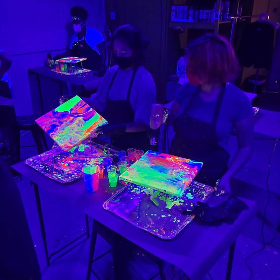 Neon GLOW Fluid Painting  6/5 @ 5:30p