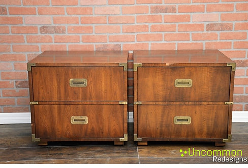 Custom Pick your color! - Mid Century Henredon Campaign Nightstands A Pair