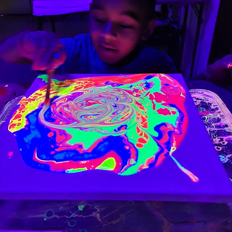 Neon GLOW Fluid Painting - Kid Friendly