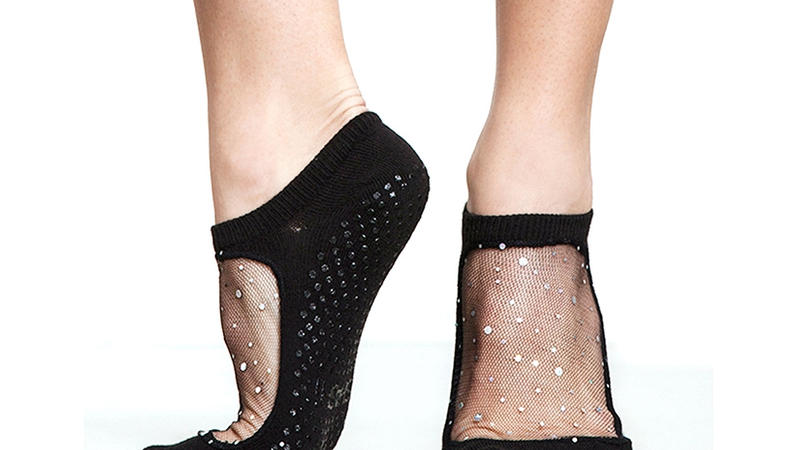Black Mesh Sparkle Pilates Socks