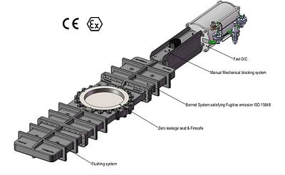 Ivaltec knife gate valve KG33 polyethylene powder application