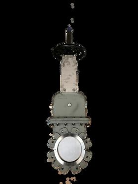 Ivaltec knife gate valve KG31 with bonnet application fine particle of petroleum