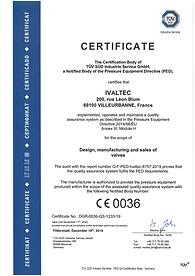 Ivaltec certification DESP / PED