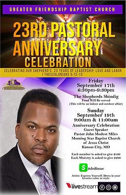 Pastor Derrick Miles 23rd Anniversary Notice September 17, 2021 and September 19, 2021