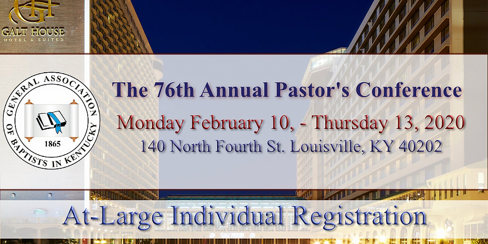 2020  Pastor's Conference (At-Large Individual) Registration