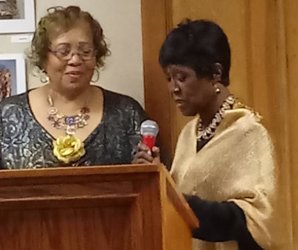 Rev. Cleora Williams Presenting an award at Central District Birthday Celebration