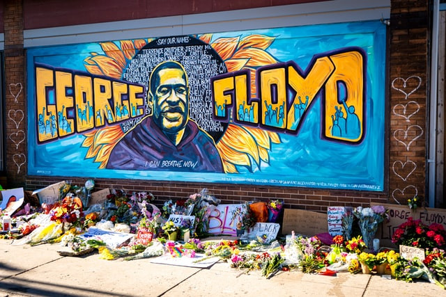 A mural of the late George Floyd