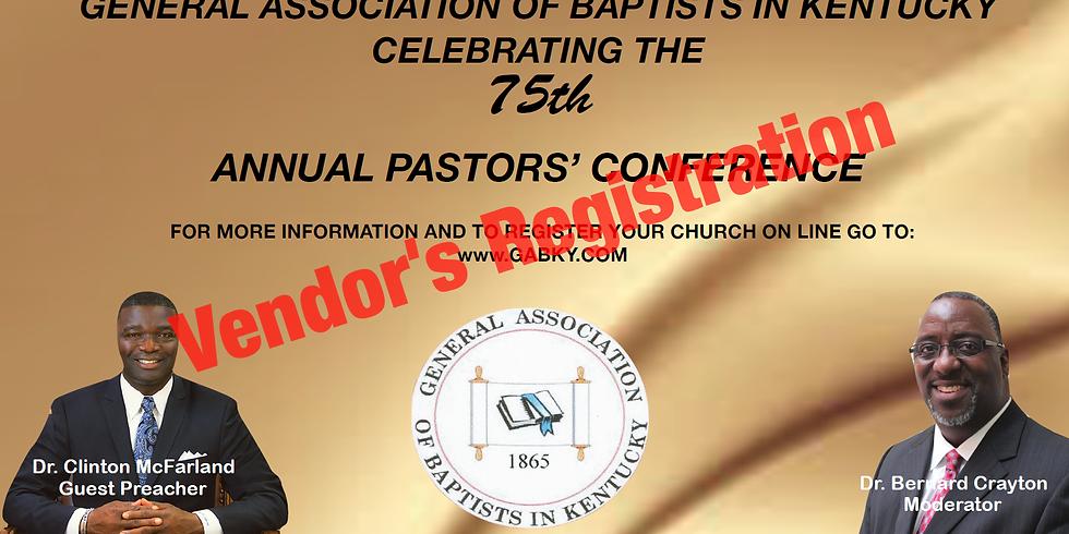 2019 Pastor's Conference Vendor's Registration