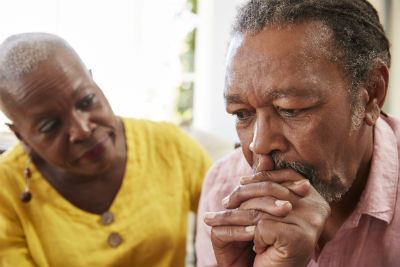 Mature African Couple Concerned About Alzheimers