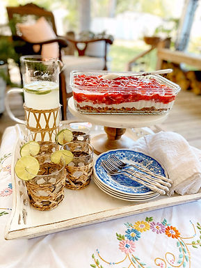 Porch Lunch with Strawberry Pretzel Salad and Fresh Lime Soda