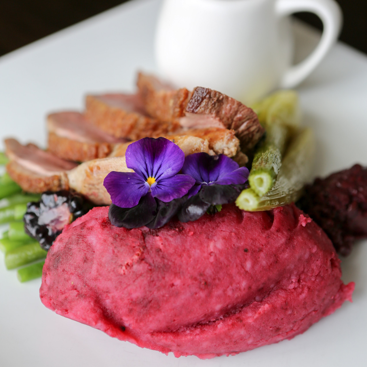 Duck Breast, Beetroot Mashed Potato
