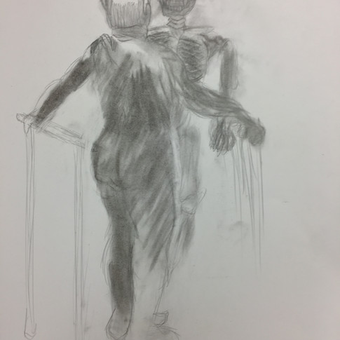 Old Man and Skeleton Rear View
