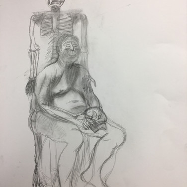 Old Man with Skull and Skeleton
