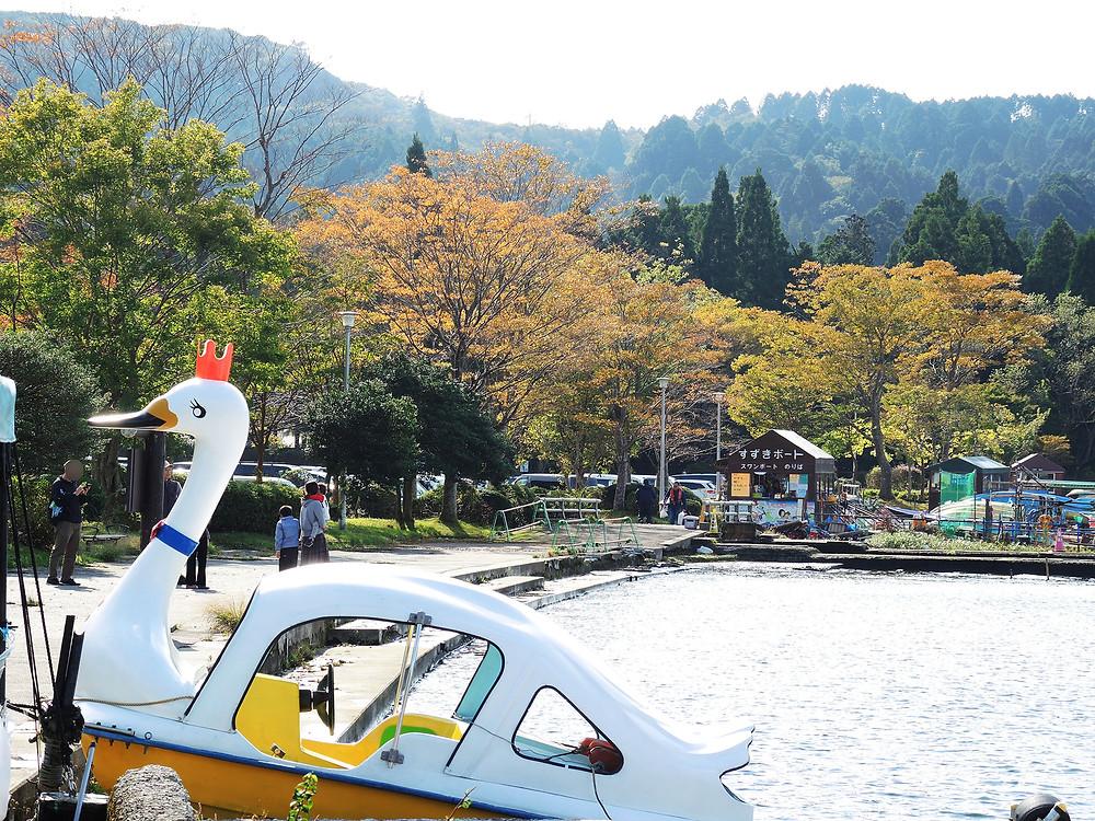 箱根芦ノ湖箱根町港のスワンボート乗り場