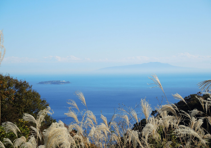 熱海市伊豆山温泉付別荘地から望む熱海初島と大島