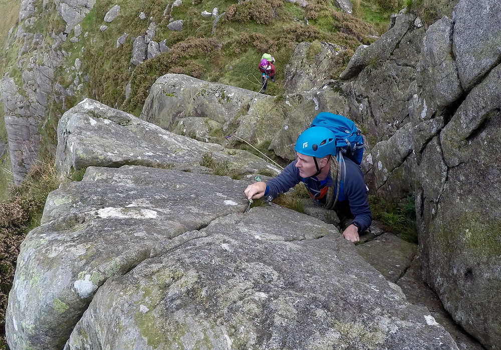 The tricky move at the top of Tryfan Bach scramble