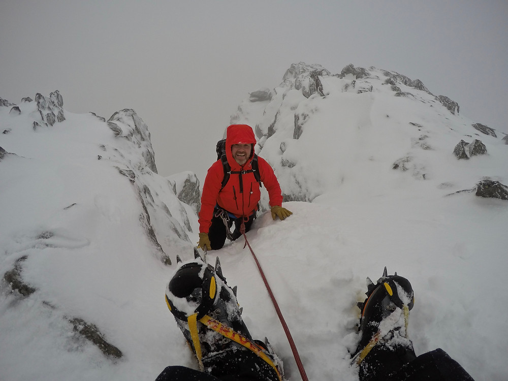 Topping out on Hidden Gully