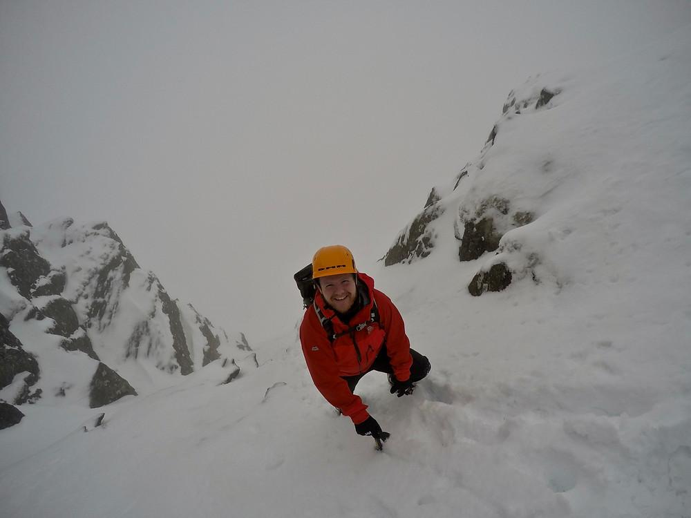 Climbing out of Cwm Cneifion