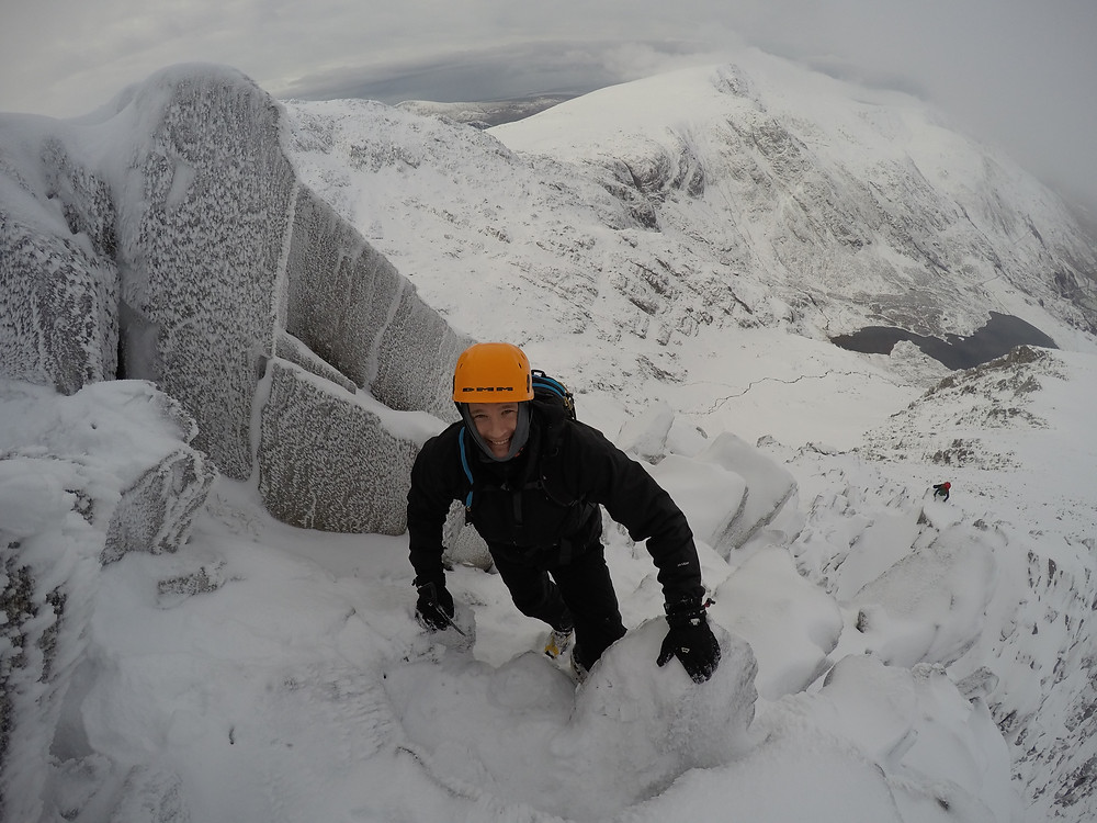 Owain on Y Gribin looking down on Cam Cneifion