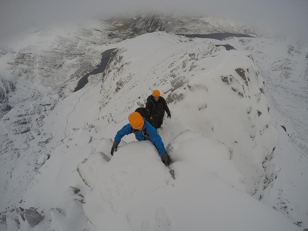Enjoying the winter scrambling on Y Gribin, Glyderau