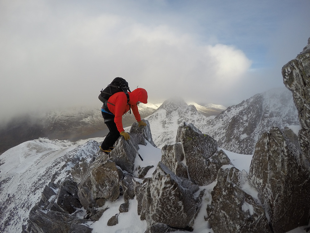 Good winter scrambling on Y Gribin