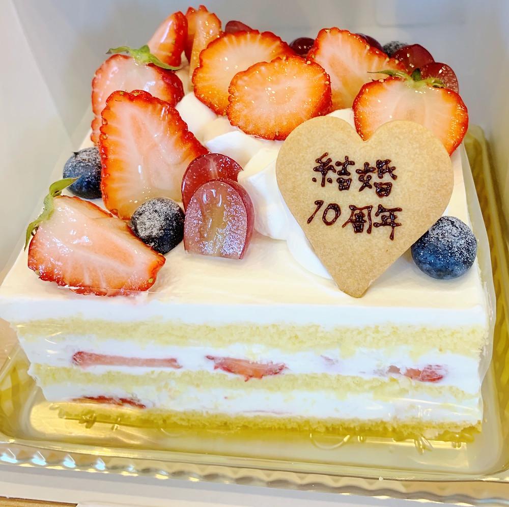 アンジュールにて結婚記念のケーキ