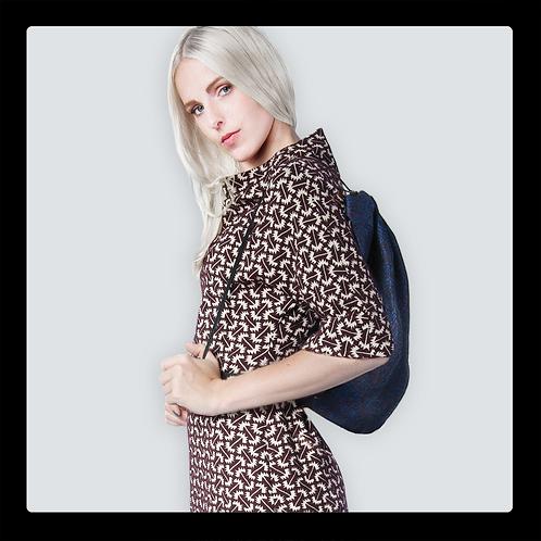 Blauer City-Rucksack aus Baumwolle Jaquarde. Auch in anderen Stoffen erhältlich
