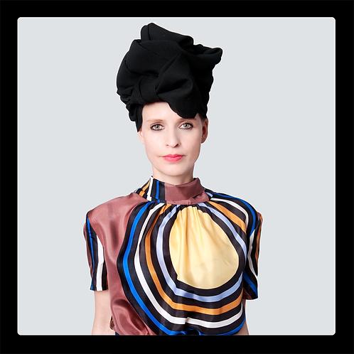 Glamouröser schwarzer Turban aus 100% Schurwolle