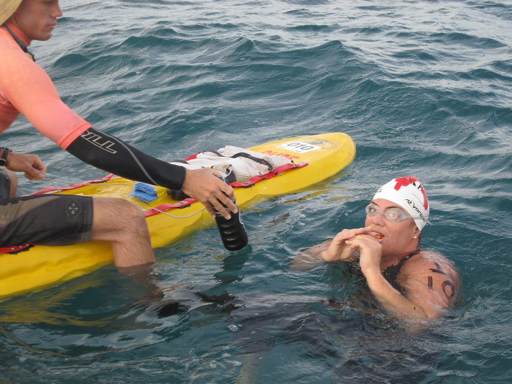 The best liquids and food to consume during the Rottnest Channel Swim includes carbohydrate-gels, sports drinks and hydration tablets. Sugary snacks can also provide an energy boost when you're fatigued.