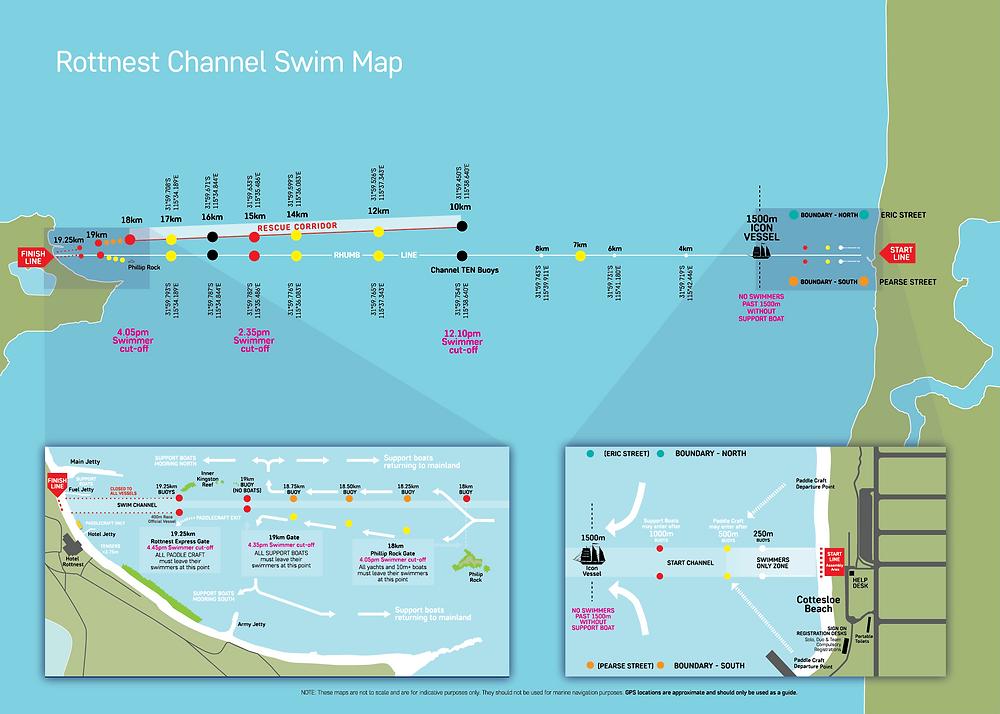 Rottnest Channel Swim Map