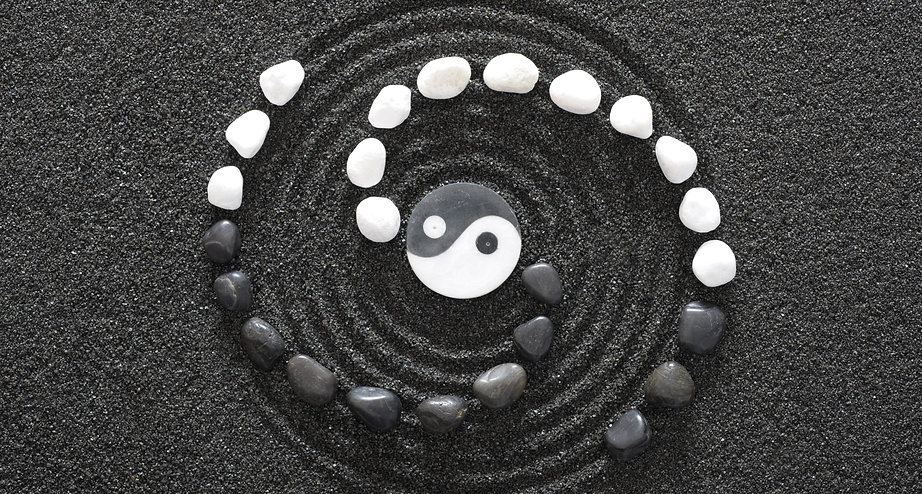 Japanese ZEN garden with yin and yang st