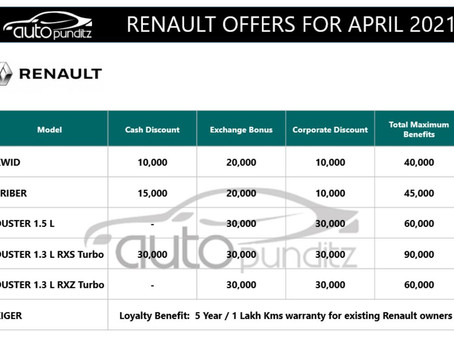 Discounts & Offers on Renault Cars Models for April 2021