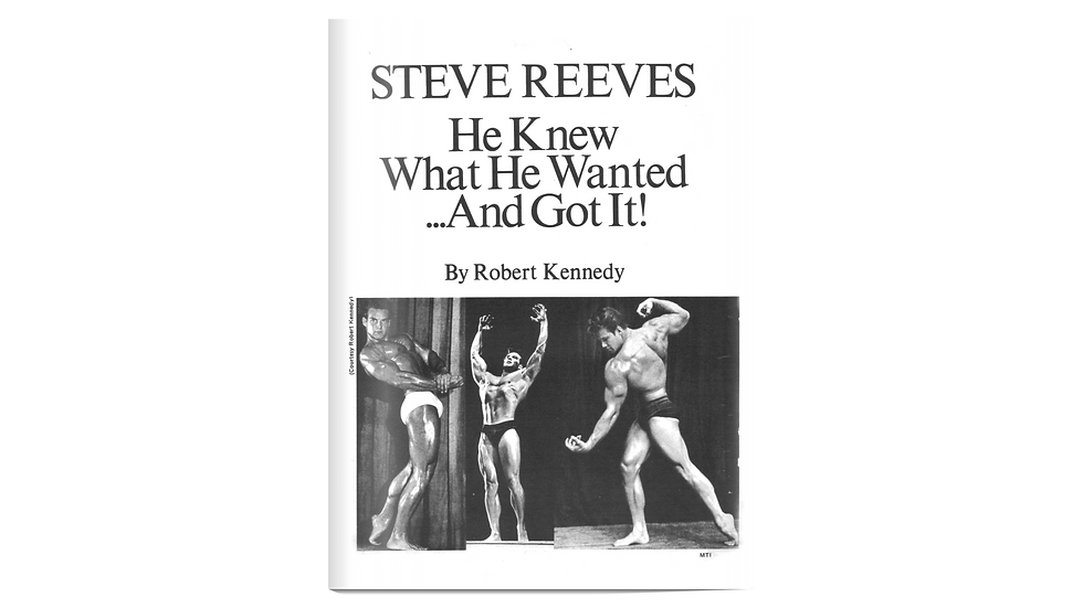 Steve Reeves Biography and Exercises Booklet