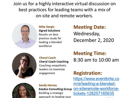 Leading a blended on-site/remote workforce