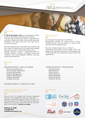 F Hill & Associates One Pager