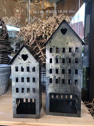 Windlicht Haus klein Metall