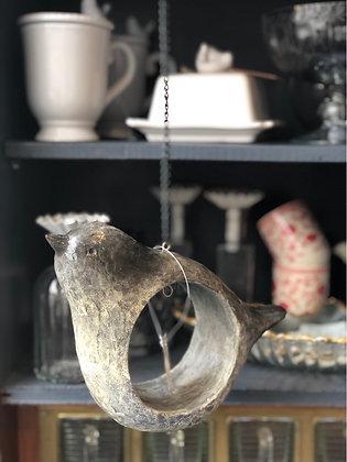 Vogel Polyresin grau