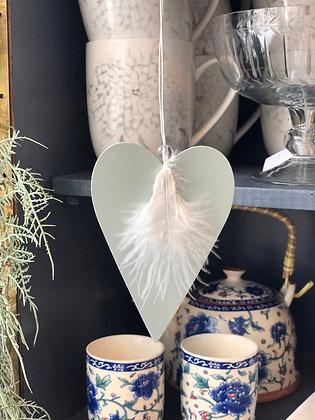 Herz Holz  mit  Feder mint