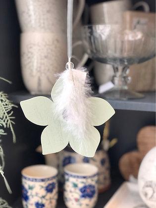 Blume mit Feder  hell mint