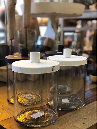 Kerzenhalter Metall /Glas  weiß
