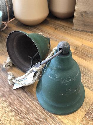 Glocke  Grün Metall Shabby