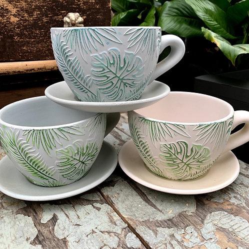 Cup & Saucer Embossed Ceramic Planter
