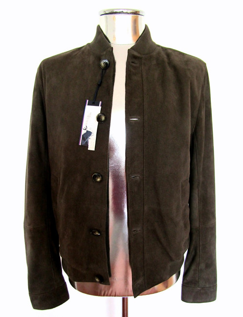 801f8f7f5 Tommy Hilfiger Brown / Green Suede Leather Bomber Jacket £595 EU48 Medium  Coat
